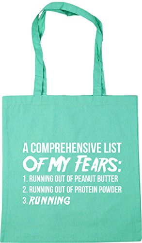 HippoWarehouse A Comprehensive List Of My Fears: 1.Running Out Of Peanut Butter 2. Running Out Of Protein Powder 3.Running Tote Shopping Gym Beach Bag 42cm x38cm, 10 litres