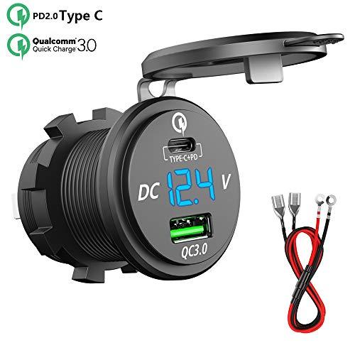12 V 24 V Dual USB Ladeger/ät wasserdichte Steckdose mit LED Digitalanzeige Voltmeter f/ür Motorrad Auto RV Boot