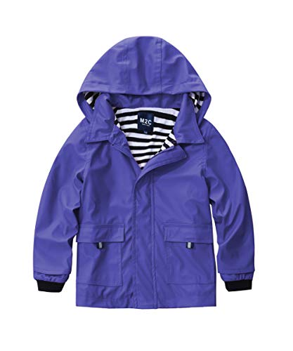 M2C Girls Hooded Waterproof Rain Jacket Cotton Lined Windbreaker 7/8 Purple