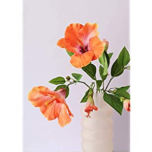 Silk Flowers Hibiscus Spray in Orange Coral – 26″ Tall