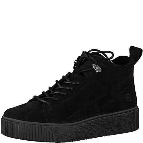 Tamaris Damen Stiefel, Frauen Schnürstiefel, kurz-Stiefel Sneaker Sportschuhe schnürung weiblich Lady Ladies Women's Women,Black,39 EU / 5.5 UK