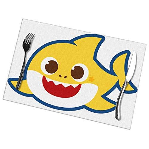 Manteles Individuales Lavables Salvamantele Individuales PVC Tiburon Bebe,Antideslizantes Resistente al Calor Juego de 6 para la Mesa de Comedor de Cocina 30x45cm