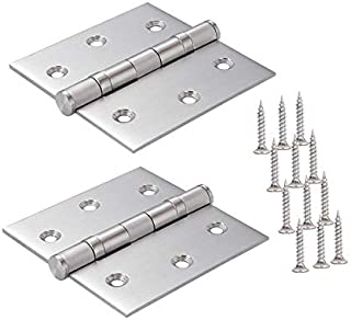 "TPOHH Commercial Grade Ball Bearing Door Hinge with Brushed Nickel, 2-Pack 3"" X 3"" Non-Removable Pin"