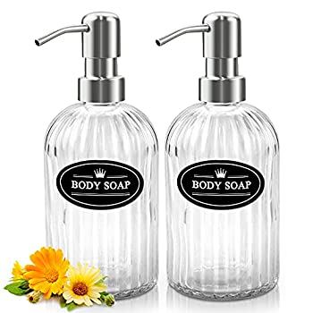 Sungwoo 12 Oz Clear Glass Soap Dispenser with 304 Stainless Steel Pump Refillable Hand Soap Dispenser for Bathroom Kitchen 2 Pack  Silver