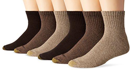 Gold Toe Men's Big and Tall Harrington Quarter Socks (6 Pair Pack), Taupe, Khaki Marl, Brown, Shoe Size: 12-16