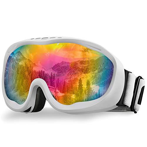 AKASO Alta Ski Goggles, Snowboard Goggles Anti-Fog, 100% UV Protection, Double-Layer Spherical Lenses, Helmet Compatible Medium Fit Snow Goggles for Men & Women (VLT 12% White Frame/Revo Red Lens)