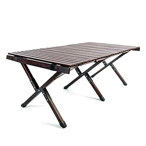 Folding Picnic Camping Table with Solid Wood, Portable Adjustable Height Roll Up Table Top Mesh Layer,Suitable for Outdoor and Indoor (Dark Brown;X-Large)