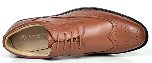 Bruno Marc London-03 Men's Classic Modern Oxfords Round-Toe Wingtip Comfort Lace Buckle Casual Dress Shoes, 3-BROWN, 8 D(M) US