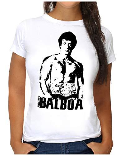 OM3 Rocky Balboa T-Shirt - Damen - The Italian Stallion 70s 80s Cult Boxing Movie - XL, Weiß