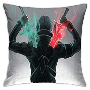 Flax Throw Pillow Cover Anime Sword Art Online Kirito 18×18 Inches Anime Throw Pillow Covers Exquisite Pillo Wcase with…