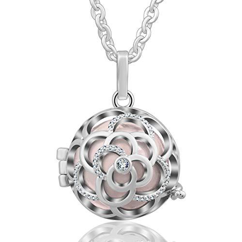 EUDORA Harmony Bola 20mm Rose Silver Plated Pendant Rhinestone Mexican Ball Necklace, 30 inches Peach