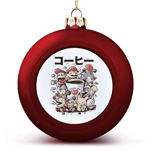 VNFDAS Café Y Juegos Japón Personalizado Bola de Navidad Adornos Bellamente decorados Bola de Navidad gadgets Perfecto colgante bola para vacaciones boda fiesta decoración