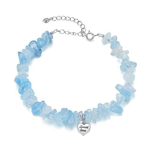 Springisso Pulsera De Cristal Azul Fresco Y Niña Amor Colgante Joyería De Las Señoras Regalo De Cumpleaños De La Niña De Las Señoras Embalaje Exquisito