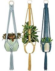 Zippy Flora Colored Macrame Plant Hangers(Set of 3) (ZF150943)