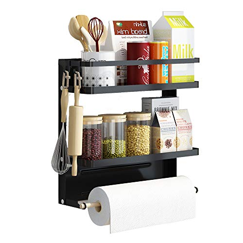 Apsan Magnetic Spice Rack for Refrigerator, 2 Tier Magnetic Rack for Spice Organizer with Paper Towel Holder, Medium - Black