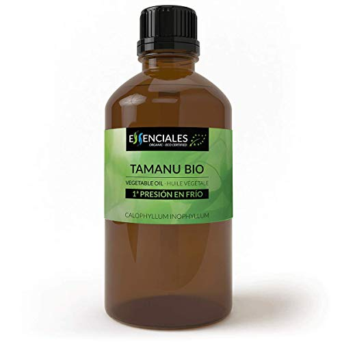 Essenciales - Aceite Vegetal de Tamanu/Calófilo Bio, Virgen, 100% PURO y Ecológico, 200 ml   Aceite Vegetal Calophyllum Inophyllum, 1ª Presión en Frío