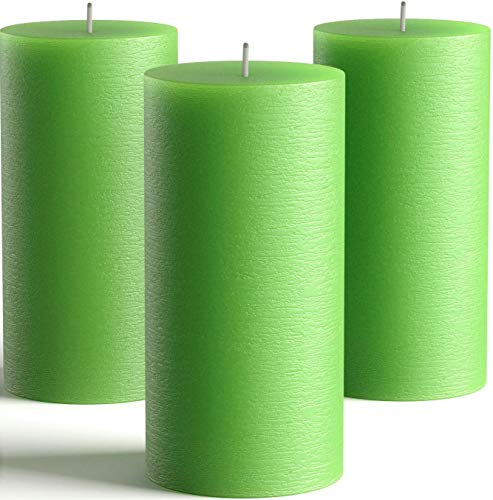 Melt Candle Company Set of 3 Green Pillar Candles 3' x 6' Unscented Fragrance-Free Candles for Weddings, Decoration, Restaurant, Spa, Church - Smokeless & Dripless
