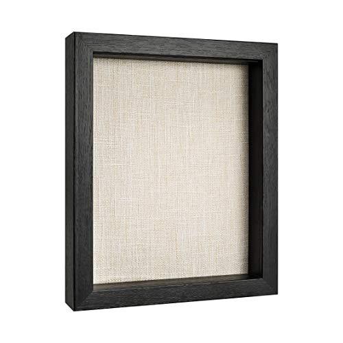 Shadow Box Display Case, Deep Shadow Box Frame, Wood Shadow Box with Linen Back, Memory Box (Black, 8x10)