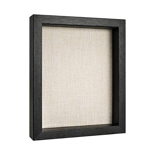 Shadow Box Display Case, Deep Shadow Box Frame, Wood Shadow Box with Linen Back, Memory Box (Black, 8x10)