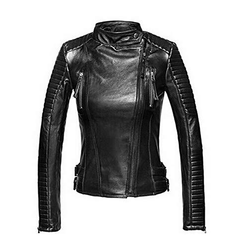 CML Imitación de Las Mujeres Chaqueta de Cuero básico Otoño Invierno Suave Cuero de la PU Cazadoras Punk Coats Corta Femenina del Cuero (Color : Black, Size : XXL)