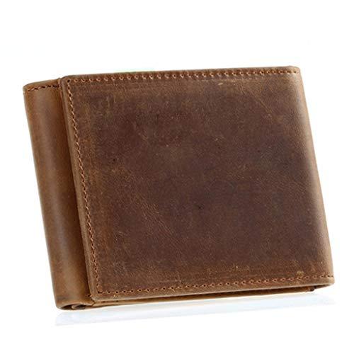 Heren lederen portemonnee met een rits muntzak en ID-kaartvenster