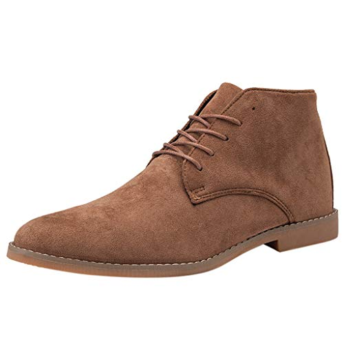 Mens Suede Leather Chukka Ankle Boots Classic Round Toe Original Suede Leather Desert Storm Chukka Boots Goosun Lace up Fashion Oxfords Suede Leather Chelsea Dress Boots Brown