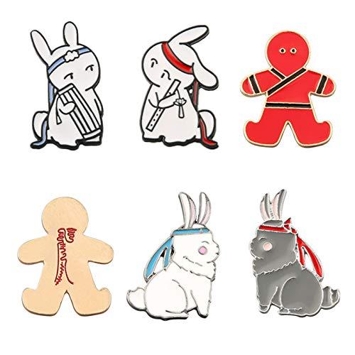 FANTESI Chen QingLing Brooch Pin Badge The Untamed Symbol Pins Metal Rabbit Badge Brooch Cosplay Gifts(S 6PCS)