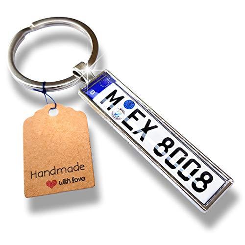 Internetservice Timo Lindner Schlüsselanhänger mit individuellem KFZ Kennzeichen Nummernschild Autokennzeichen Personalisiert