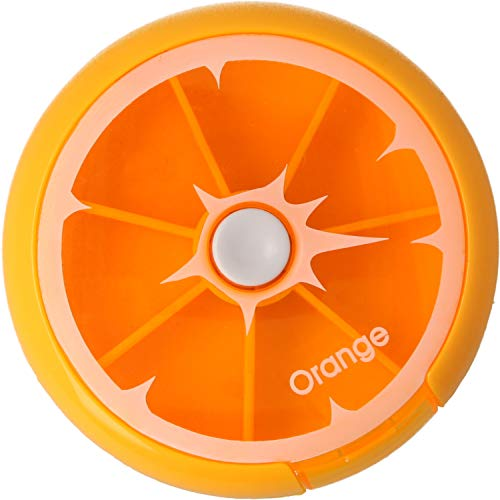 MovilCom® - Pastillero pequeño diario bolsillo   7 compartimentos   Organizador de pastillas pill box estuche redondo   Color naranja