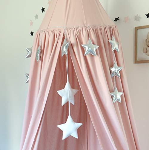 Babymajawelt® Glänzenden 3D Girlande GLAM Sterne - ca.180cm Wanddeko, Fensterdeko, Kinderzimmer (silber)