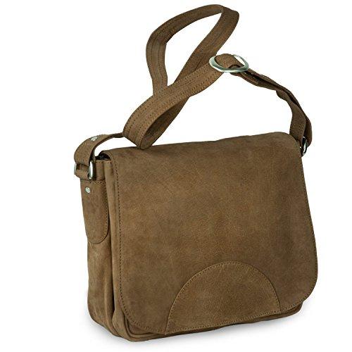 Damen Handtasche Größe M Umhängetasche im Retro-Look aus Büffel-Leder, Braun, Hamosons 577
