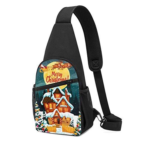DJNGN Sling Backpack Santa Claus In Reindeer Sleighs Sling Bag Crossbody Shoulder Bag Travel Hiking Chest Bag Daypack
