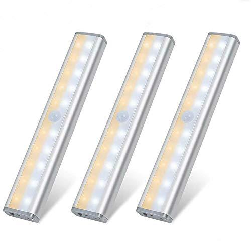 CHAW Luz de armario sensor de movimiento, iluminación automática de inducción, recargable debajo del armario, armarios de cocina