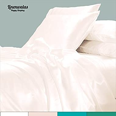 Linenwalas Todays Deal Bamboo Sheets – 100% Organic Softest Moisture Wicking Deep Pocket Bedding   Silk Like Soft, Wrinkle Free Cooling Luxury Hotel Bed Sheet Set (King Size, Ivory)