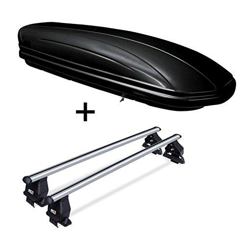 VDP Coffre de toit vdpmaa320 verrouillable Noir 320 l + barres de toit en aluminium Menabo Tema pour mini ONE (break 5 portes) à partir de 2014