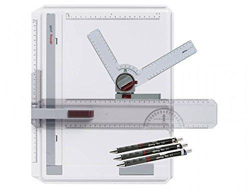 rOtring Zeichenplatte Profil A4 / Profi-Set (Zeichenplatte + Winkelzeichner + Tikky Druckbleistifte)