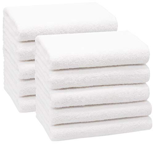 ZOLLNER 10er Set Handtücher, 50x100 cm 100% Baumwolle, 400 g/qm, weiß