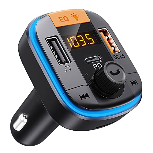 Bluetooth FM Transmitter for Car - Tensun Bluetooth Car Adapter PD20W+QC3.0 Cigarette Lighter Bluetooth 5.0 Radio Receiver Music Player Car Charger Supports Hands-Free Call Siri Google Assistant