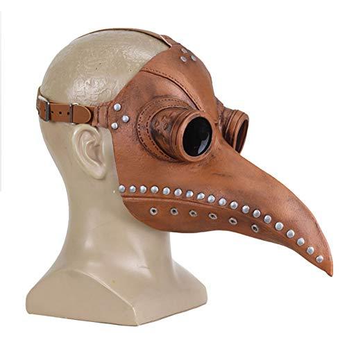 INTVN Mscara Halloween, 1 Pcs Plague Doctor Bird Head Mask Cuero de PU Nariz Larga de pjaro Halloween Props Disfraz Steampunk Ltex Mscara Negra, para Hombre Mujer