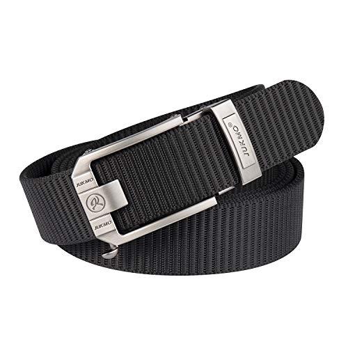 "JUKMO Ratchet Belt for Men, Nylon Web Tactical Gun Belt with Automatic Slide Buckle (001-Black, For Waist 20""-40"" (Length 47""))"