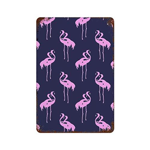 Placa decorativa de metal con diseño de flamenco, color rosa, 20 x 30 cm