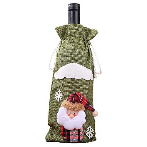Yue668 - Bolsa para botella de champán de Navidad, decoración de regalo de botella de vino, decoración de Navidad, bolsa de vino, botella de Papá Noel (verde)