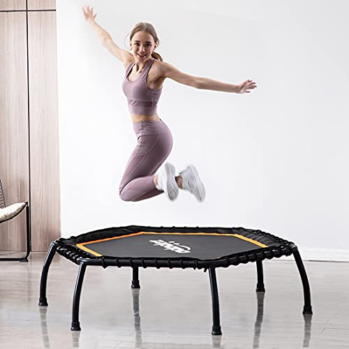 Zupapa Fitness Trampoline for Adults, Mini Silent Fitness Rebounder Trampoline for Indoor Outdoor Garden Workout Cardio Training, Max Load 330 lbs (Hexagonal, 45inch)