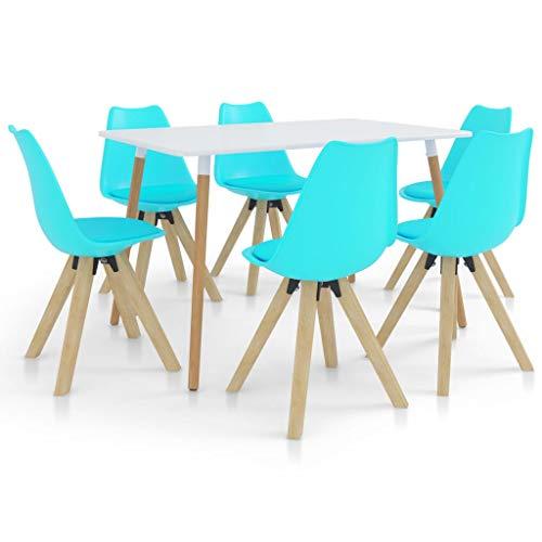 vidaXL Essgruppe 7-TLG. Esszimmergruppe Esszimmergarnitur Tischset Sitzgruppe Esstischset Küchentisch Esszimmertisch Esstisch mit 6 Stühlen Blau