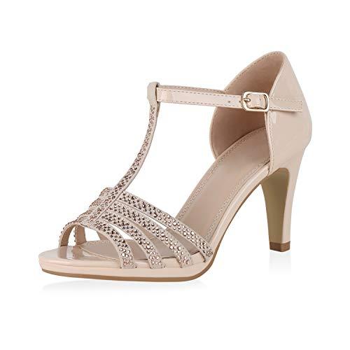 SCARPE VITA Damen Sandaletten Riemchensandaletten Stiletto Party Schuhe Elegante Abendschuhe Strass High Heels Absatzschuhe 190321 Creme 36