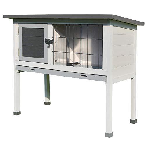 Pawhut Conejera de Madera Caseta Exterior Refugio para Mascotas Pequeñas Conejos Cobayas...