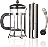 Manual Coffee Grinder Adjustable Coarseness and French Press Coffee Maker Heat Resistant Filter...