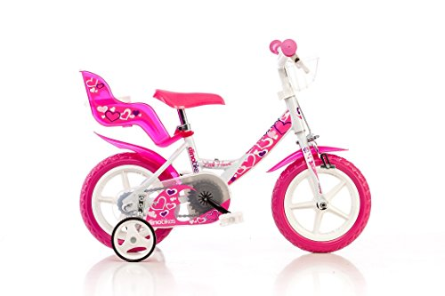 Dino Bikes 124RLN, Bicicletta per bambina, misura 12', Bianco/Rosa