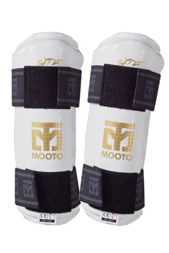 Mooto Taekwondo Forearm Protector WTF Approved TKD Guard Black & White XS to XL (White, 5.XL(more than 6.17ft or more than 188cm))