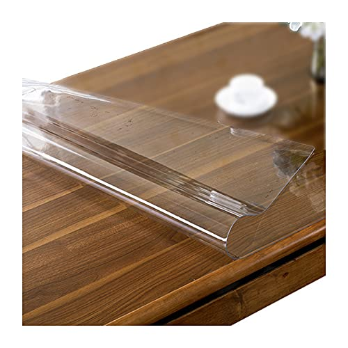 JXFS Pvc Transparent Dining Table Cover,Plastic Protection Tablecloth, Table Furniture Surface,Waterproof Pressure High Temperature Abrasion Resistance,Customizable Size(Color:1mm,Size: 115x170cm)